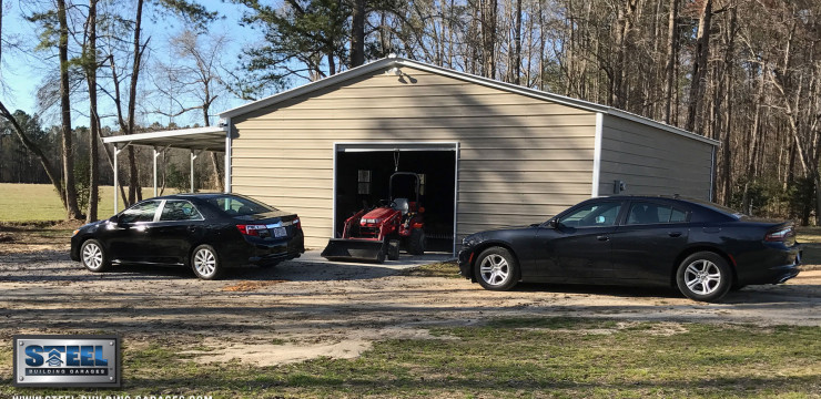 Customer's Double-Wide Garage with Lean-to
