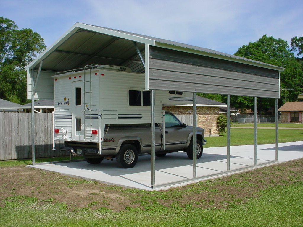 Rv carports rv metal buildings steel building garages for Carport garages