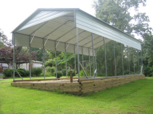 Sturdy open carport for recreational vehicles