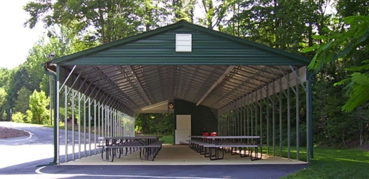 Metal Carport Uses: Park Bench Area