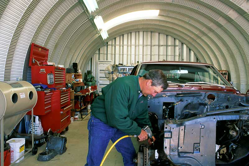 Steel garages are perfect for auto repair shops