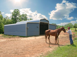 Steel building garages made into a county metal barn