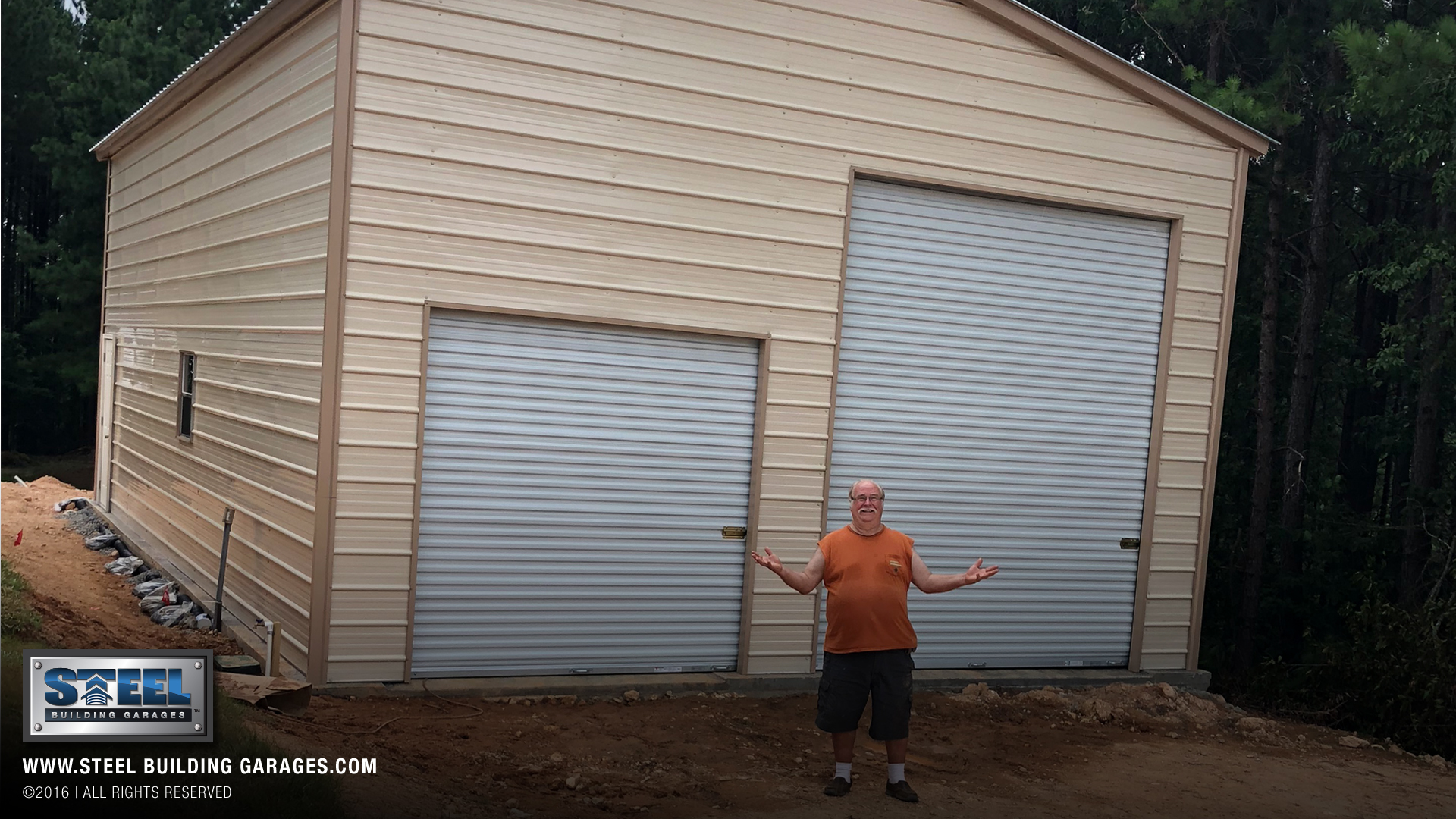 The finished garage with two different garage door sizes.